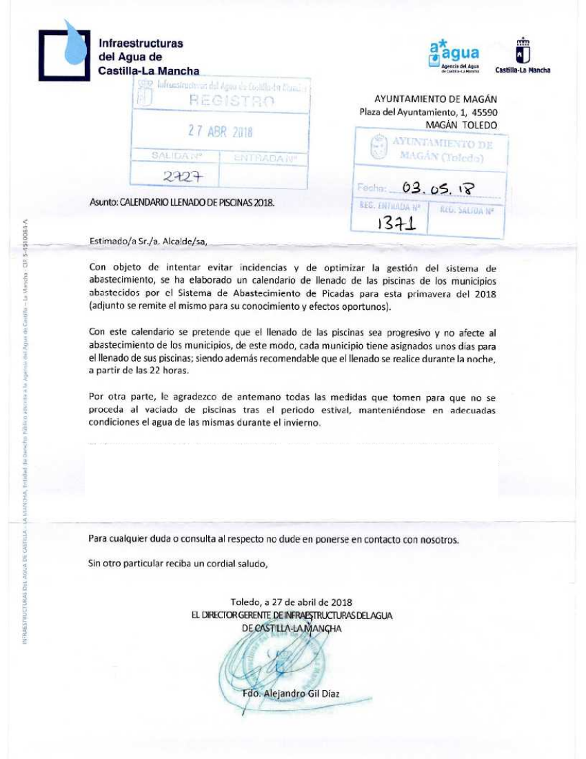 CALENDARIO LLENADO DE PISCINAS 2018