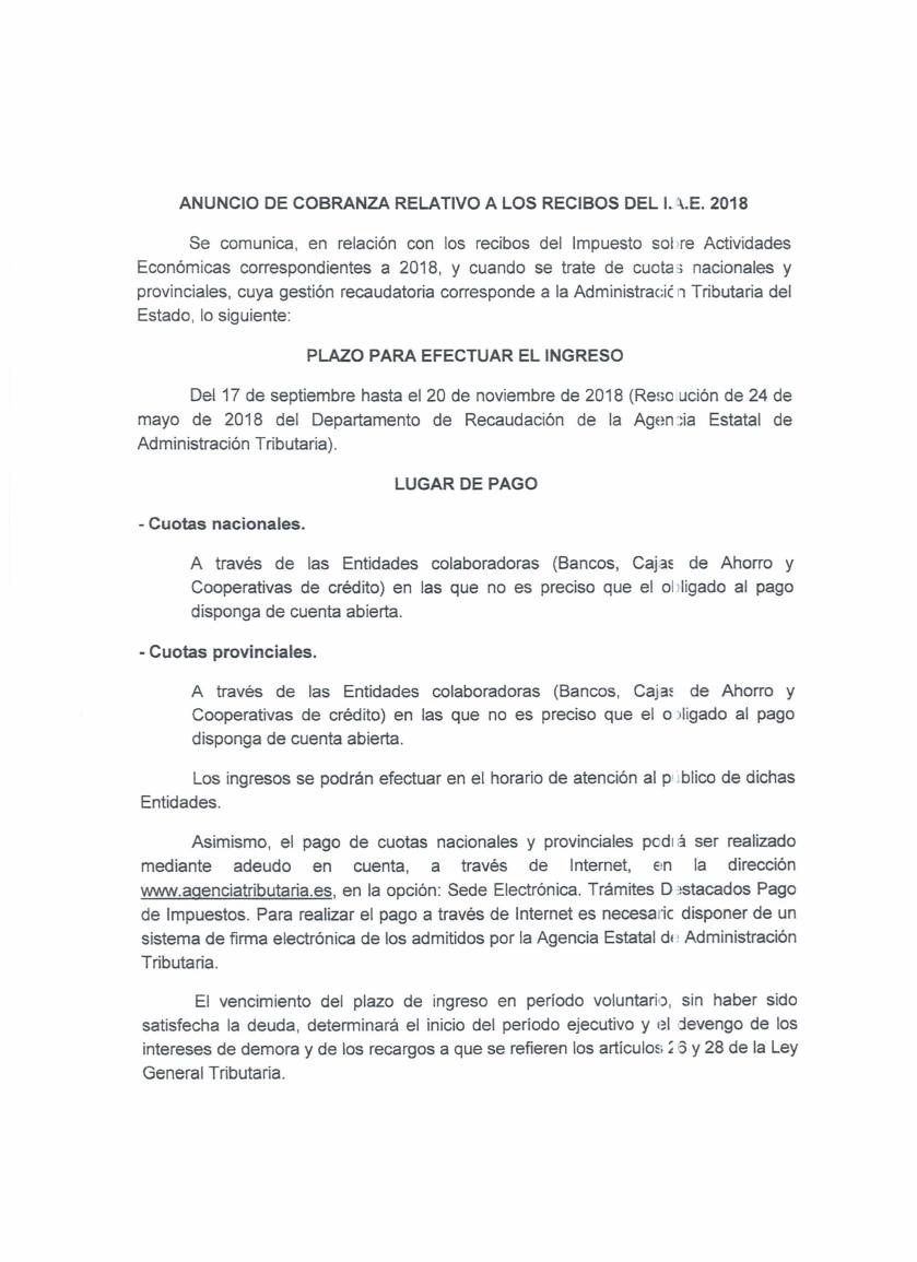 Anuncio Cobranza IAE 2018