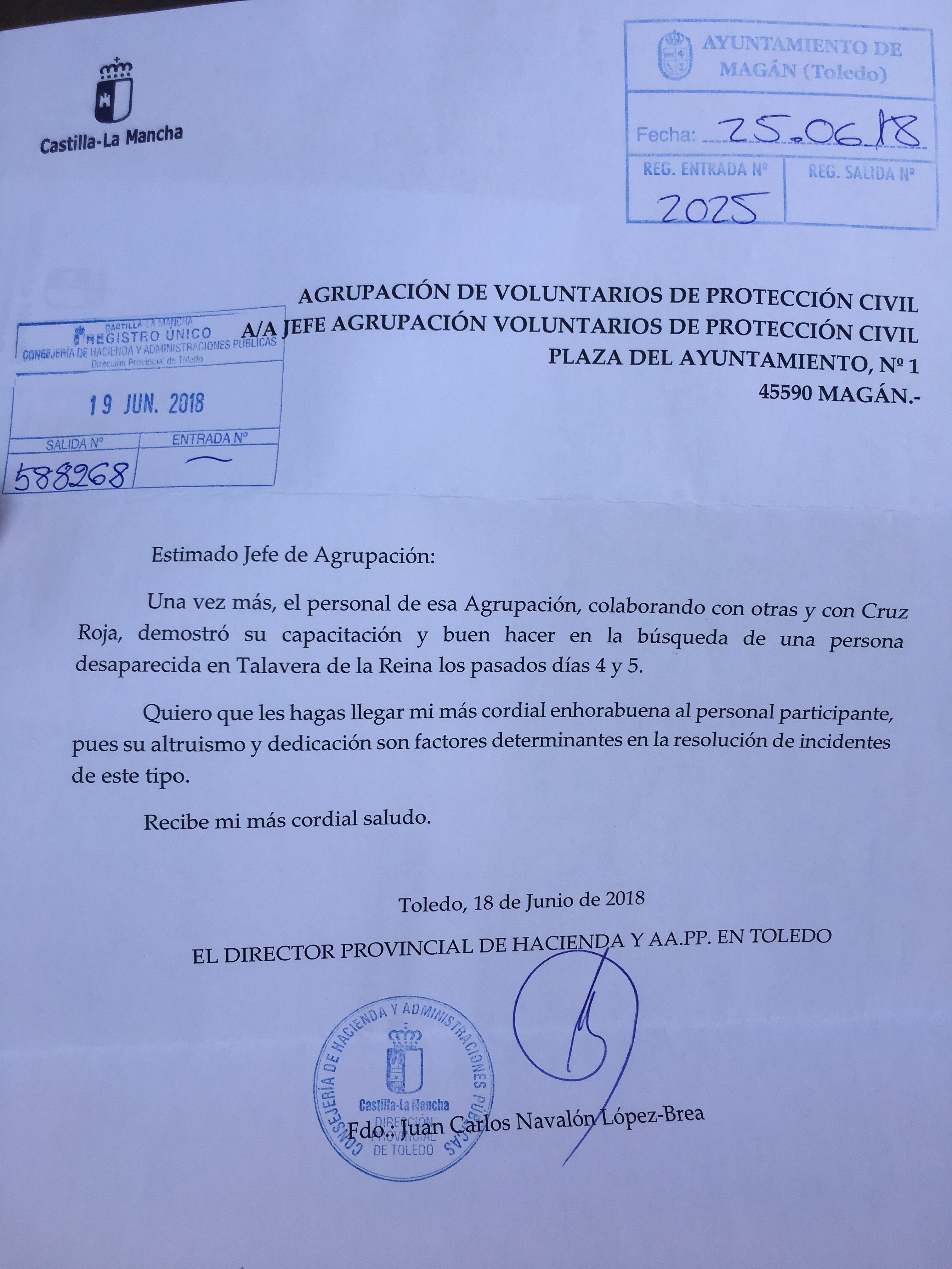Felicitacion Agrupacion de Voluntarios de Proteccion Civil